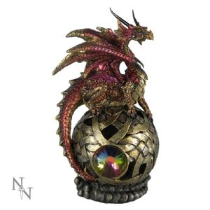 "Dragon~ Gold and Red LED Light Up Dragon Figurine ""Jewel of Phyorga""~ By Folio Gothic Hippy U0362B4"